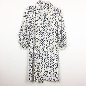 DVF   Abstract Geometric Print Silk Dress